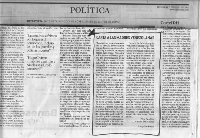 Carta alas Madres, por Leopoldo López